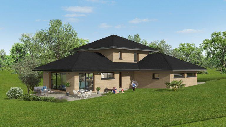 Maison bois moderne - 4 chambres, 143 m², un étage, un séjour lumineux et un double garage accolé