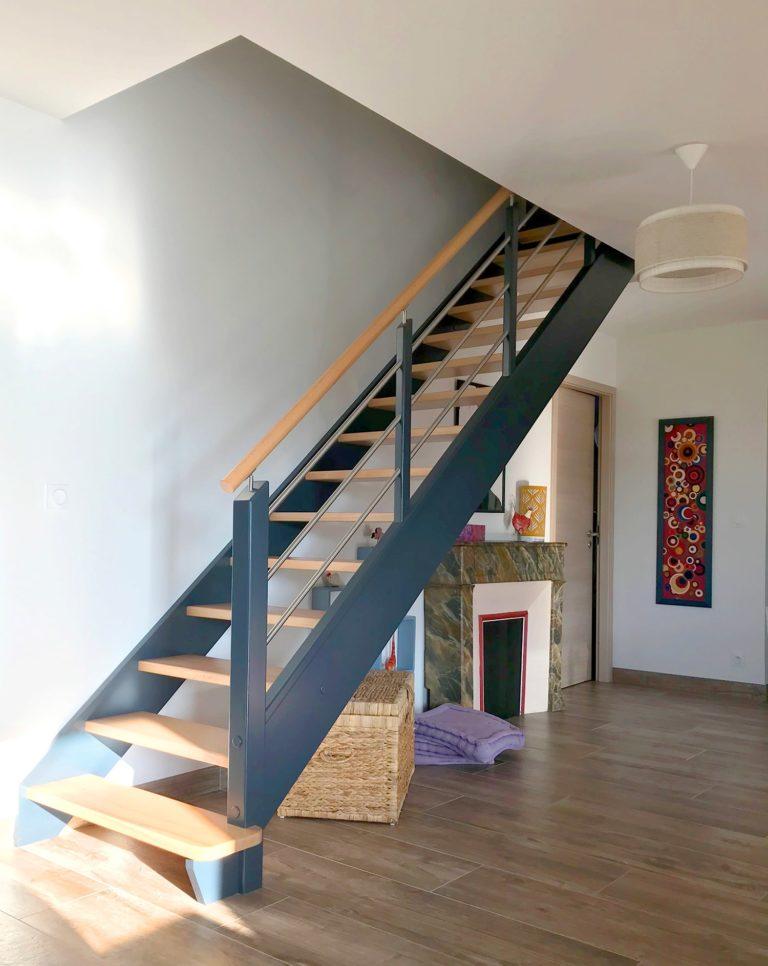 Maison ossature bois, étage, maison bois, 170 m², escalier, salon lumineux